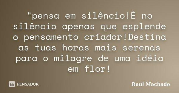 """""""pensa em silêncio!È no silêncio apenas que esplende o pensamento criador!Destina as tuas horas mais serenas para o milagre de uma idéia em flor!... Frase de Raul Machado."""