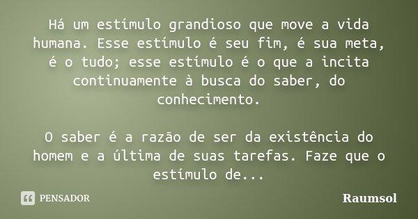 Há um estímulo grandioso que move a vida humana. Esse estímulo é seu fim, é sua meta, é o tudo; esse estímulo é o que a incita continuamente à busca do saber, d... Frase de Raumsol.