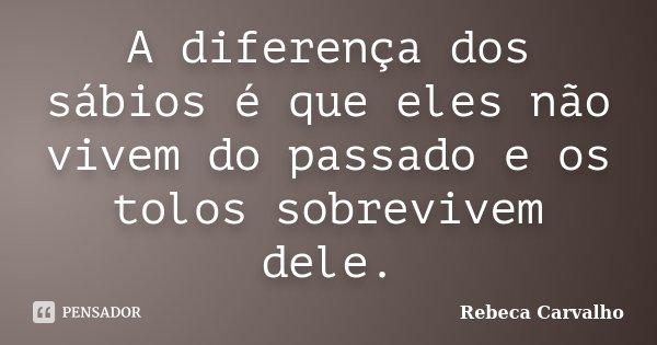 A diferença dos sábios é que eles não vivem do passado e os tolos sobrevivem dele.... Frase de Rebeca Carvalho.