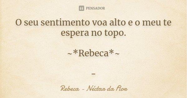 O seu sentimento voa alto e o meu te espera no topo. ~*Rebeca*~ -... Frase de Rebeca - Néctar da Flor.