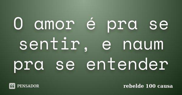 O amor é pra se sentir, e naum pra se entender... Frase de rebelde 100 causa.