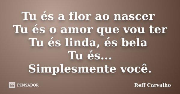 Tu és a flor ao nascer Tu és o amor que vou ter Tu és linda, és bela Tu és... Simplesmente você.... Frase de Reff Carvalho.