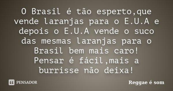 O Brasil é tão esperto,que vende laranjas para o E.U.A e depois o E.U.A vende o suco das mesmas laranjas para o Brasil bem mais caro! Pensar é fácil,mais a burr... Frase de Reggae é Som.