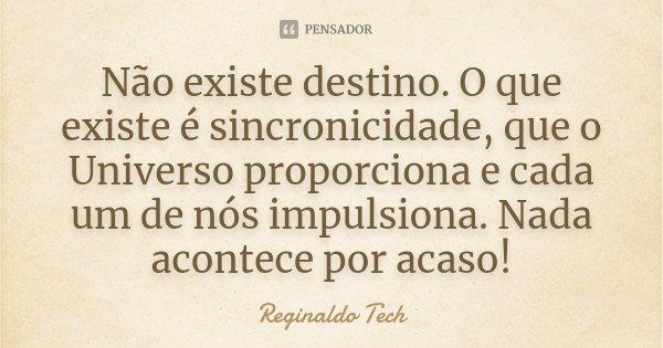 Não existe destino. O que existe é sincronicidade, que o Universo proporciona e cada um de nós impulsiona. Nada acontece por acaso!... Frase de Reginaldo Tech.