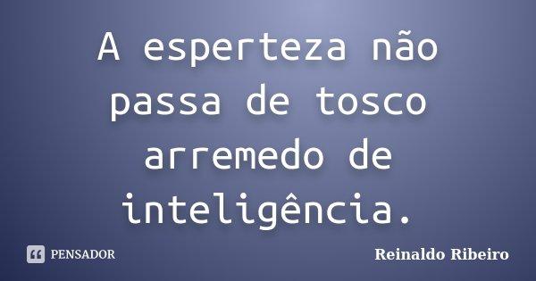 A esperteza não passa de tosco arremedo de inteligência.... Frase de Reinaldo Ribeiro.