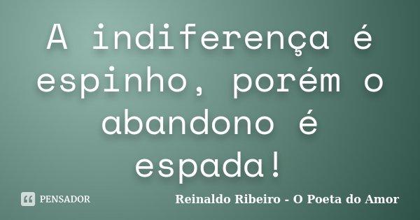 A indiferença é espinho, porém o abandono é espada!... Frase de Reinaldo Ribeiro - O poeta do Amor.