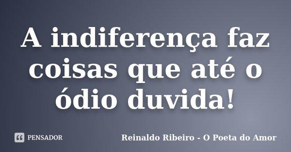 A indiferença faz coisas que até o ódio duvida!... Frase de Reinaldo Ribeiro - O poeta do Amor.