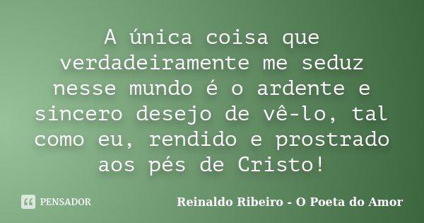 A única coisa que verdadeiramente me seduz nesse mundo é o ardente e sincero desejo de vê-lo, tal como eu, rendido e prostrado aos pés de Cristo!... Frase de Reinaldo Ribeiro - O poeta do Amor.