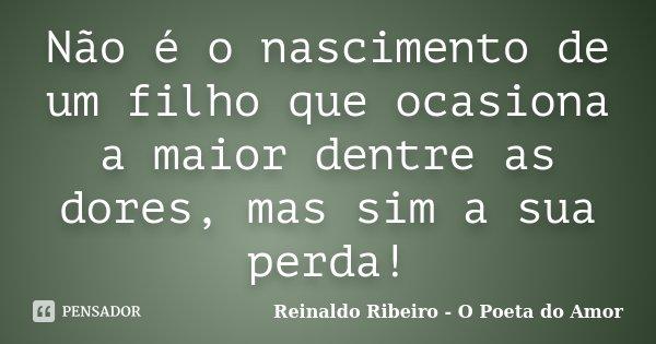 Não é o nascimento de um filho que ocasiona a maior dentre as dores, mas sim a sua perda!... Frase de Reinaldo Ribeiro - O Poeta do Amor.