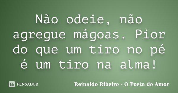 Não odeie, não agregue mágoas. Pior do que um tiro no pé é um tiro na alma!... Frase de Reinaldo Ribeiro - O poeta do Amor.