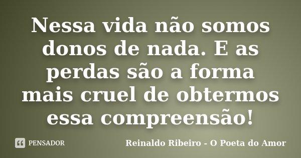Nessa vida não somos donos de nada. E as perdas são a forma mais cruel de obtermos essa compreensão!... Frase de Reinaldo Ribeiro - O Poeta do Amor.