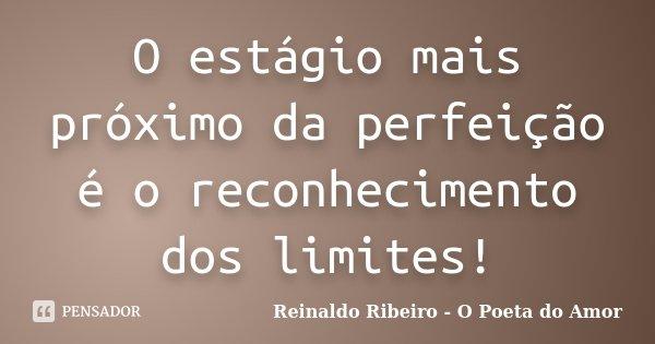O estágio mais próximo da perfeição é o reconhecimento dos limites!... Frase de Reinaldo Ribeiro - O poeta do Amor.