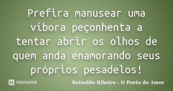 Prefira manusear uma víbora peçonhenta a tentar abrir os olhos de quem anda enamorando seus próprios pesadelos!... Frase de Reinaldo Ribeiro - O poeta do Amor.