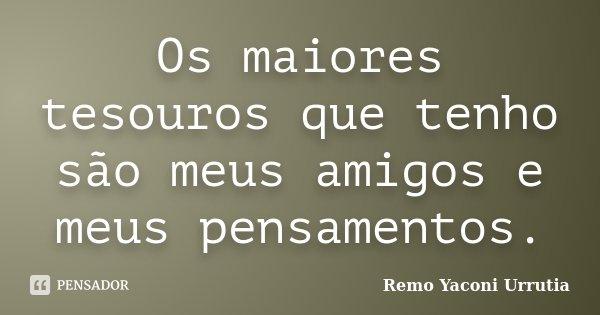Os maiores tesouros que tenho são meus amigos e meus pensamentos.... Frase de Remo Yaconi Urrutia.