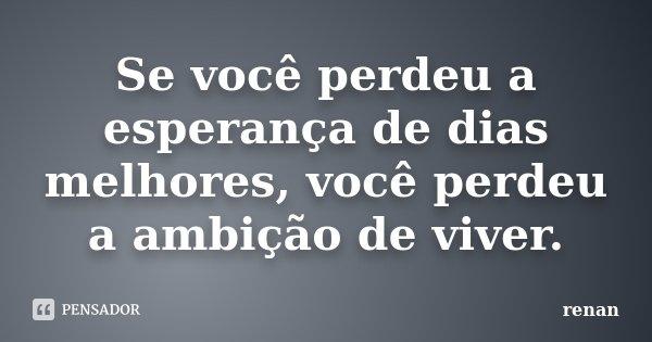 Se você perdeu a esperança de dias melhores, você perdeu a ambição de viver.... Frase de Renan.