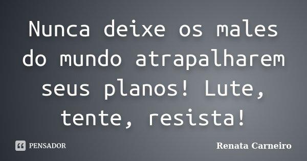 Nunca deixe os males do mundo atrapalharem seus planos! Lute, tente, resista!... Frase de Renata Carneiro.