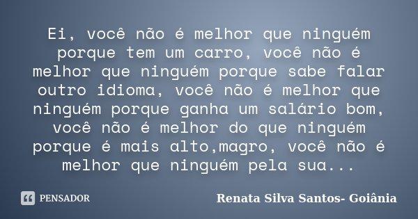 Ei Você Não é Melhor Que Ninguém Renata Silva Santos