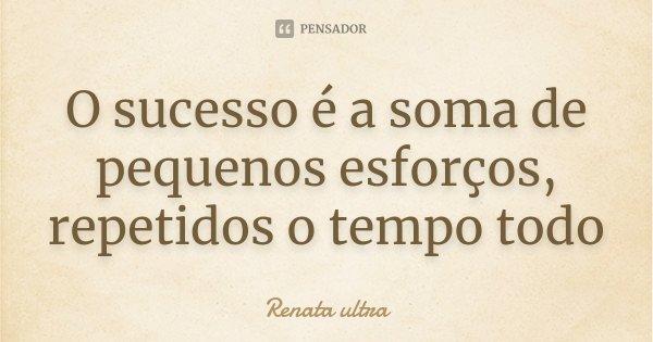 O sucesso é a soma de pequenos esforços, repetidos o tempo todo... Frase de Renata ultra.