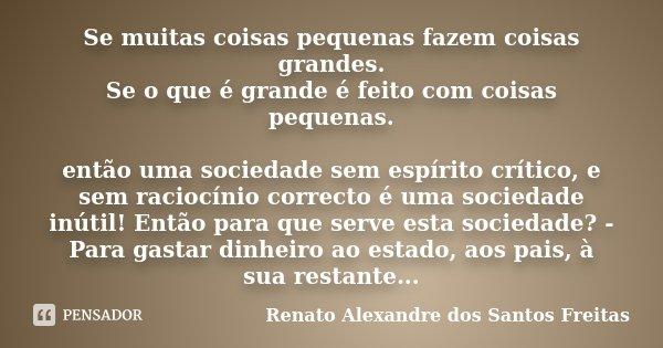 Se muitas coisas pequenas fazem coisas grandes. Se o que é grande é feito com coisas pequenas. então uma sociedade sem espírito crítico, e sem raciocínio correc... Frase de Renato Alexandre dos Santos Freitas.