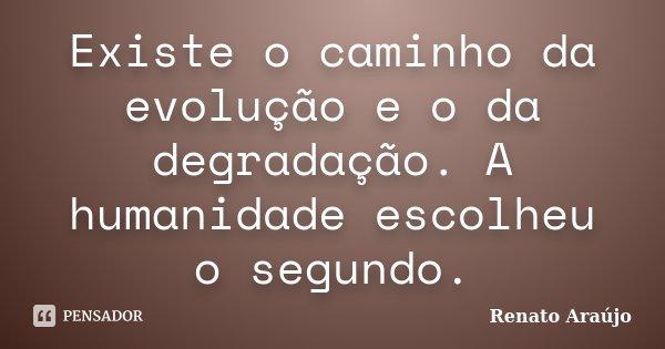Existe o caminho da evolução e o da degradação. A humanidade escolheu o segundo.... Frase de Renato Araújo.