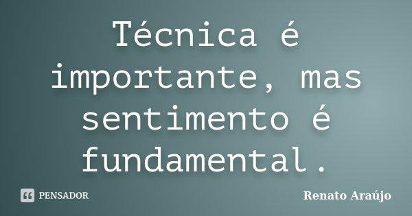 Técnica é importante, mas sentimento é fundamental.... Frase de Renato Araújo.
