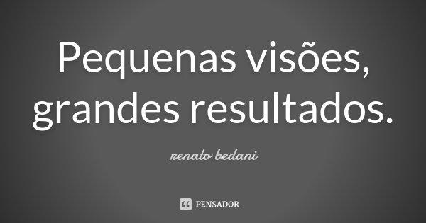 Pequenas visões, grandes resultados.... Frase de Renato Bedani.