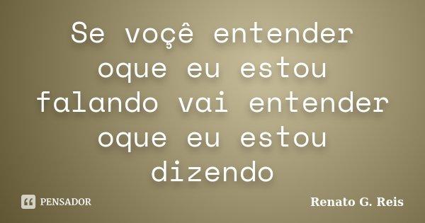 Se voçê entender oque eu estou falando vai entender oque eu estou dizendo... Frase de Renato G. Reis.