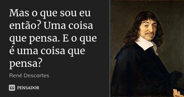 Mas o que sou eu então? Uma coisa que pensa. E o que é uma coisa que pensa?... Frase de René Descartes.