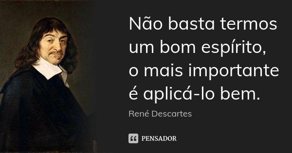 Não basta termos um bom espírito, o mais importante é aplicá-lo bem.... Frase de René Descartes.