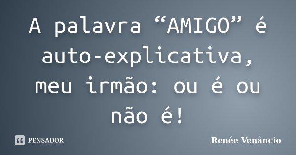 """A palavra """"AMIGO"""" é auto-explicativa, meu irmão: ou é ou não é!... Frase de Renée Venâncio."""