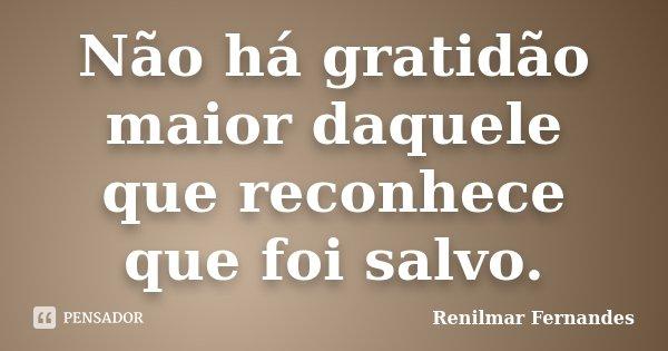Não há gratidão maior daquele que reconhece que foi salvo.... Frase de Renilmar Fernandes.