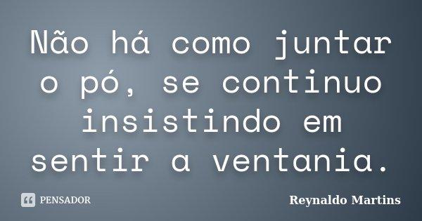 Não há como juntar o pó, se continuo insistindo em sentir a ventania.... Frase de Reynaldo Martins.