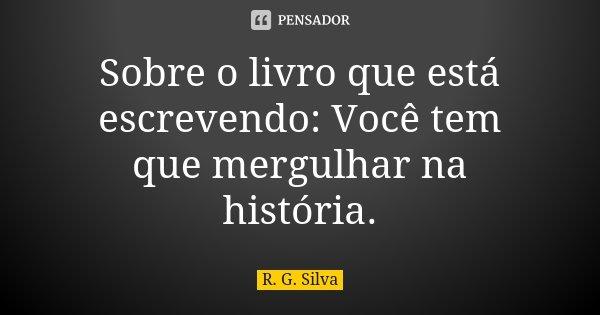 Sobre o livro que está escrevendo: Você tem que mergulhar na história.... Frase de R. G. Silva.