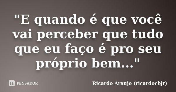 """""""E quando é que você vai perceber que tudo que eu faço é pro seu próprio bem...""""... Frase de Ricardo Araujo (ricardocbjr)."""
