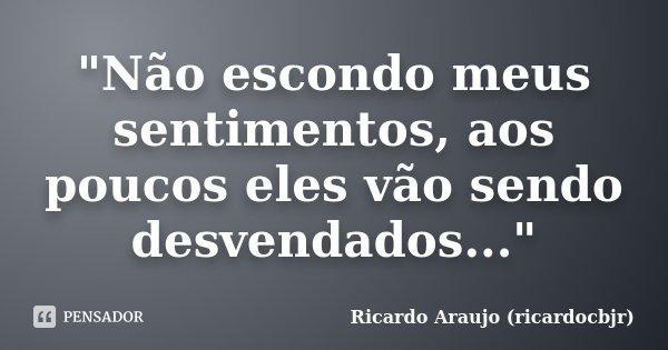 """""""Não escondo meus sentimentos, aos poucos eles vão sendo desvendados...""""... Frase de Ricardo Araujo (ricardocbjr)."""