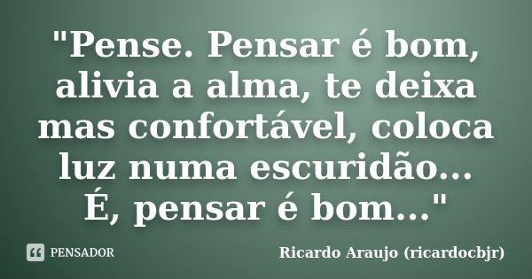 """""""Pense. Pensar é bom, alivia a alma, te deixa mas confortável, coloca luz numa escuridão... É, pensar é bom...""""... Frase de Ricardo Araujo (ricardocbjr)."""