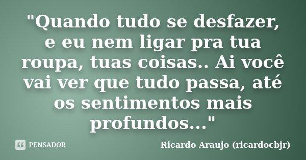 """""""Quando tudo se desfazer, e eu nem ligar pra tua roupa, tuas coisas.. Ai você vai ver que tudo passa, até os sentimentos mais profundos...""""... Frase de Ricardo Araujo (ricardocbjr)."""