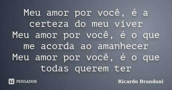 Meu amor por você, é a certeza do meu viver Meu amor por você, é o que me acorda ao amanhecer Meu amor por você, é o que todas querem ter... Frase de Ricardo Brandani.