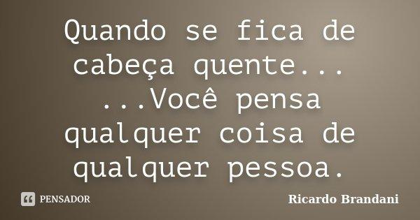 Quando se fica de cabeça quente... ...Você pensa qualquer coisa de qualquer pessoa.... Frase de Ricardo Brandani.