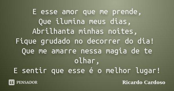 E esse amor que me prende, Que ilumina meus dias, Abrilhanta minhas noites, Fique grudado no decorrer do dia! Que me amarre nessa magia de te olhar, E sentir qu... Frase de Ricardo Cardoso.