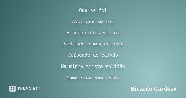 Que se foi Amor que se foi E nunca mais voltou Partindo o meu coração Sufocado de paixão Na minha triste solidão Numa vida sem razão... Frase de Ricardo Cardoso.