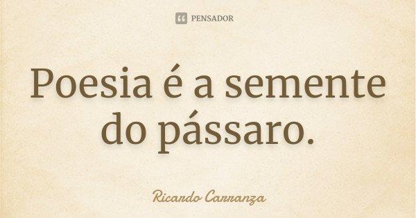 Poesia é a semente do pássaro.... Frase de Ricardo Carranza.