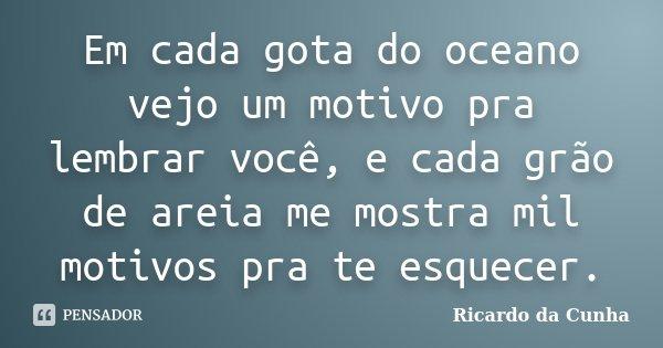 Em cada gota do oceano vejo um motivo pra lembrar você, e cada grão de areia me mostra mil motivos pra te esquecer.... Frase de Ricardo da Cunha.