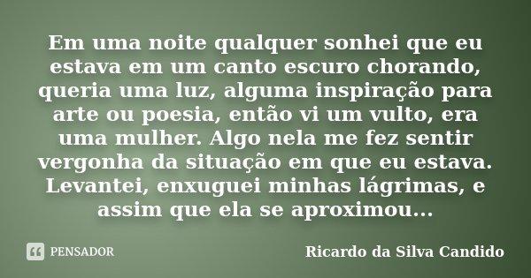 Em uma noite qualquer sonhei que eu estava em um canto escuro chorando, queria uma luz, alguma inspiração para arte ou poesia, então vi um vulto, era uma mulher... Frase de Ricardo da Silva Candido.