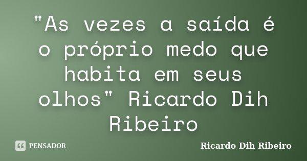 """""""As vezes a saída é o próprio medo que habita em seus olhos"""" Ricardo Dih Ribeiro... Frase de Ricardo Dih Ribeiro."""