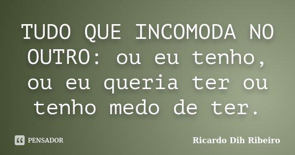 TUDO QUE INCOMODA NO OUTRO: ou eu tenho, ou eu queria ter ou tenho medo de ter.... Frase de Ricardo Dih Ribeiro.