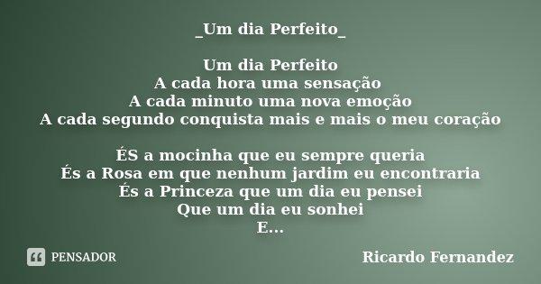 _Um dia Perfeito_ Um dia Perfeito A cada hora uma sensação A cada minuto uma nova emoção A cada segundo conquista mais e mais o meu coração ÉS a mocinha que eu ... Frase de Ricardo Fernandez.