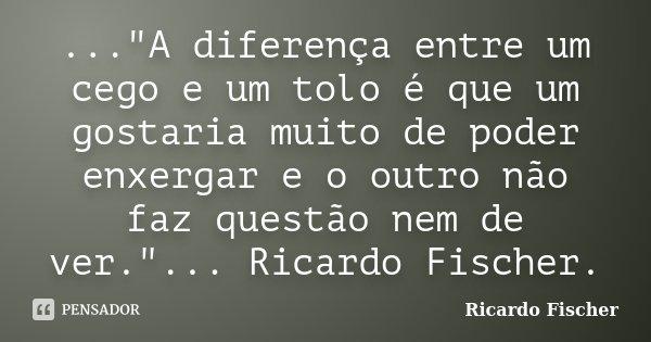 """...""""A diferença entre um cego e um tolo é que um gostaria muito de poder enxergar e o outro não faz questão nem de ver.""""... Ricardo Fischer.... Frase de Ricardo Fischer."""