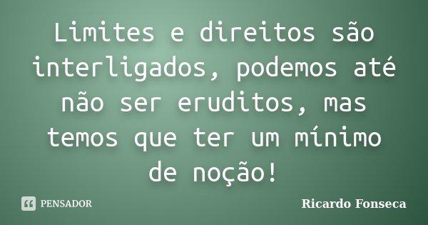 Limites e direitos são interligados, podemos até não ser eruditos, mas temos que ter um mínimo de noção!... Frase de Ricardo Fonseca.