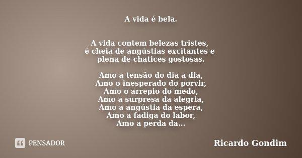 A vida é bela. A vida contem belezas tristes, é cheia de angústias excitantes e plena de chatices gostosas. Amo a tensão do dia a dia, Amo o inesperado do porvi... Frase de Ricardo Gondim..